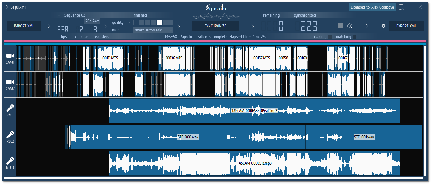 Syncaila - multi-camera audio and video synchronizing software